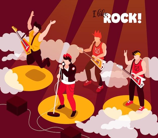 Composición isométrica del rendimiento de la banda de músicos de rock punk con cantantes guitarristas altavoces estéreo ilustración de rayos de luz