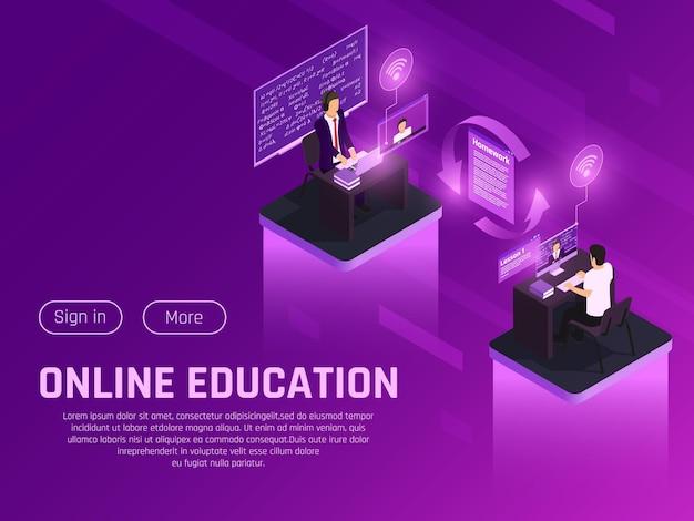 Composición isométrica resplandor de educación en línea con botones de texto editables y pictogramas futuristas de neón personajes humanos
