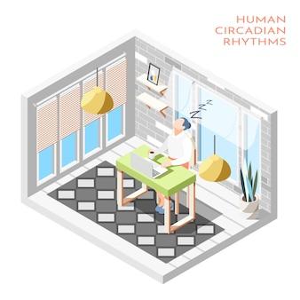 Composición isométrica de ritmos circadianos humanos con habitación aislada y mujer durmiendo en la ilustración del escritorio