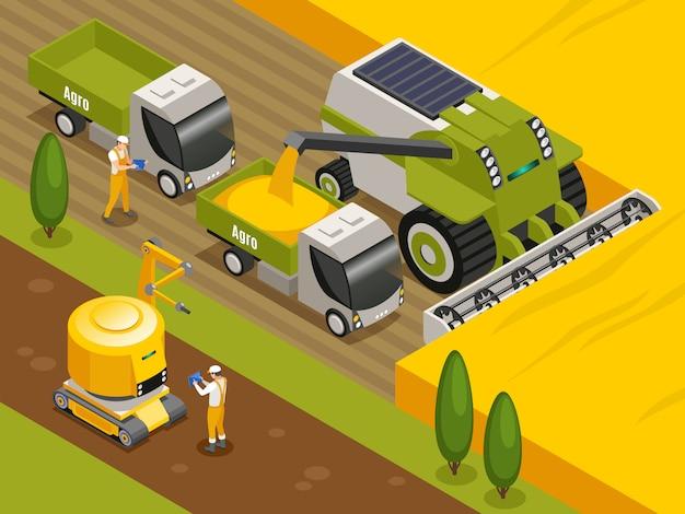 Composición isométrica de robots agrícolas con trilladoras cosechadoras automáticas controladas a distancia que trabajan en el campo de trigo