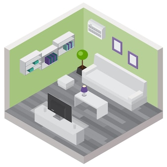 Composición isométrica de la sala de estar con muebles cómodos y modernos dispositivos inalámbricos.