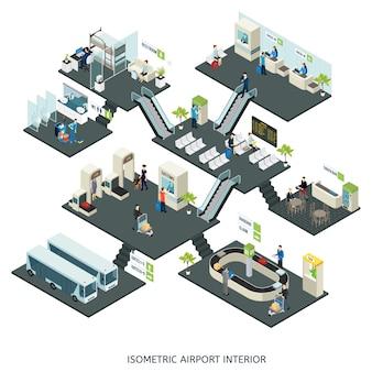 Composición isométrica de las salas del aeropuerto
