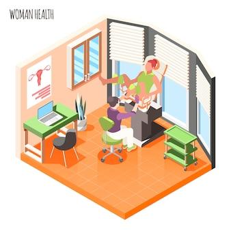 La composición isométrica de la salud de las mujeres con el médico examina a la paciente en la ilustración de vector de silla ginecológica