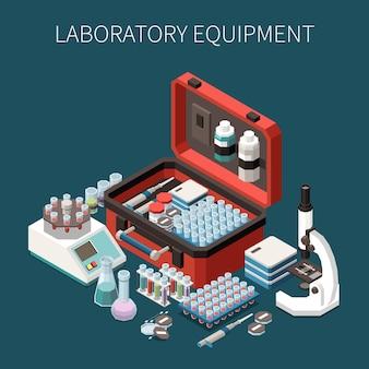 Composición isométrica del servicio de análisis de diagnóstico de laboratorio.