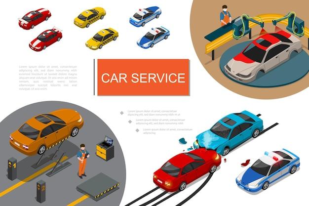 Composición isométrica del servicio de garaje con procesos de reparación y pintura de automóviles, mecánica automotriz, taxis deportivos, coches de policía y accidentes.