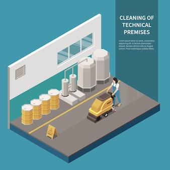 Composición isométrica del servicio de limpieza de pisos de superficie dura profesional comercial con instalaciones técnicas de maquinaria de fregado rotativo