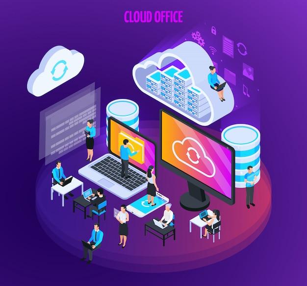 Composición isométrica de servicios en la nube con pequeñas figuras de personas con pantallas de computadora