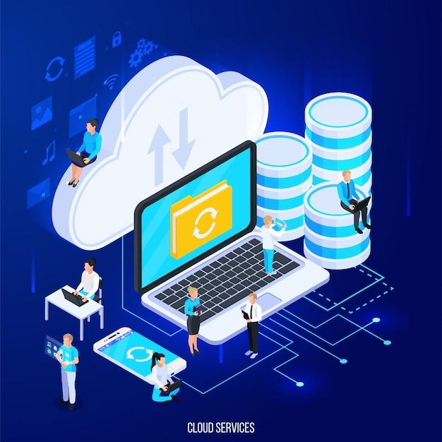 Composición isométrica de servicios en la nube con pictogramas de silueta plana y gran almacenamiento en la nube con ilustración de vector de personas