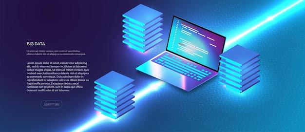 Composición isométrica de servicios en la nube. sistemas de inteligencia empresarial de almacenamiento de análisis de datos grandes fondo isométrico de alta tecnología moderno conectado con líneas discontinuas. estación del futuro, rack de sala de servidores.
