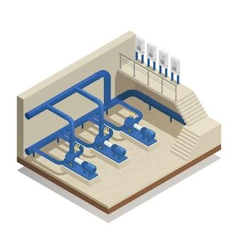 Composición isométrica del sistema de limpieza de agua