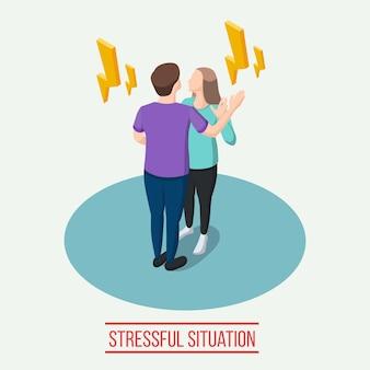 Composición isométrica de situación estresante con relámpagos amarillos alrededor del hombre y la mujer durante la ilustración de vector de comunicación emocional