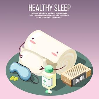 Composición isométrica de sueño saludable sobre fondo lila con almohada, medicamentos, mascarilla y tapones para los oídos, ilustración de reloj