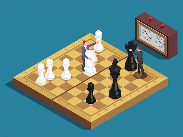 Composición isométrica del tablero de ajedrez