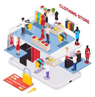 Composición isométrica con tarjeta de crédito interior de tienda de ropa y clientes eligiendo ropa.