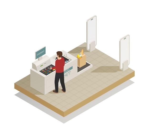 Composición isométrica de tecnología de compras de supermercado