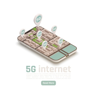 Composición isométrica de la tecnología de comunicación moderna de internet 5g con letreros de ubicación y texto editable de botón de lectura