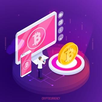 Composición isométrica de tecnología financiera de criptomonedas con dispositivos electrónicos y moneda de oro sobre púrpura