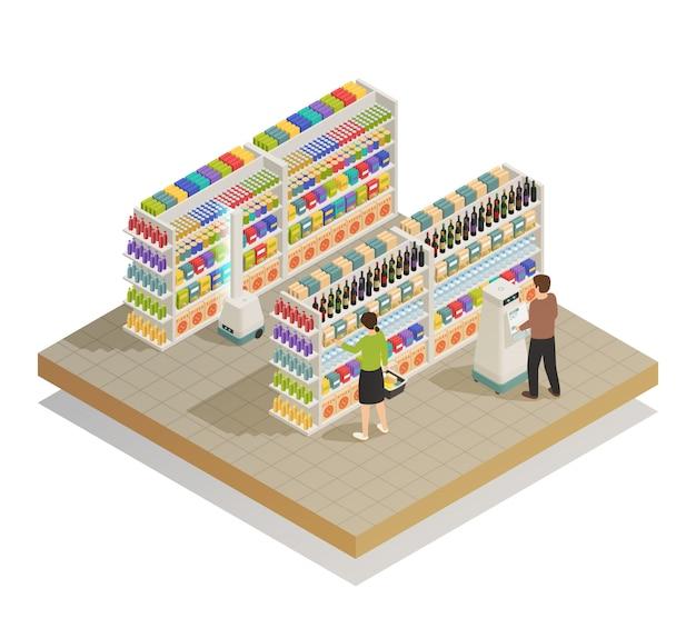 Composición isométrica de tecnologías automatizadas de supermercado