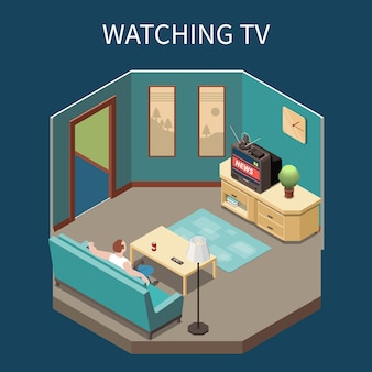 Composición isométrica de telecomunicaciones con hombre viendo noticias en casa ilustración vectorial 3d