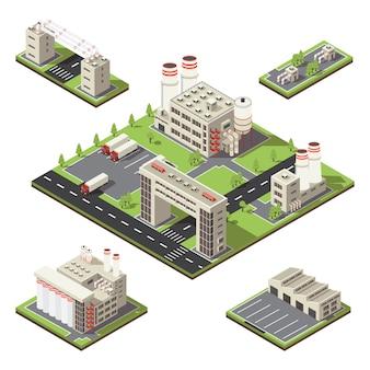 Composición isométrica del territorio de fábrica