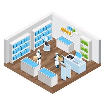 Composición isométrica de la tienda automatizada con productos de robots en el sistema de seguridad de autopago
