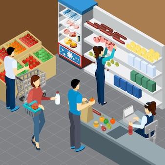Composición isométrica de la tienda de comestibles