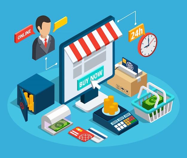 Composición isométrica de la tienda online de banca
