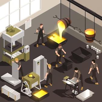 Composición isométrica de los trabajadores de las instalaciones de fabricación de metalurgia con ilustración de proceso de laminación de forja de fundición de hierro fundido