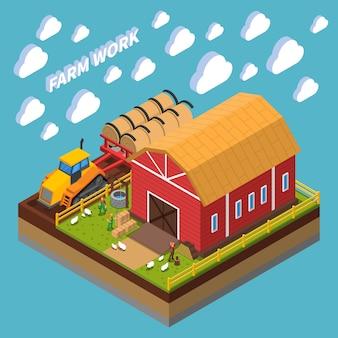 Composición isométrica del trabajo agrícola con granjeros que cuidan mascotas cerca del cobertizo en el patio trasero