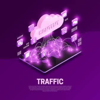 Composición isométrica del tráfico web con ilustración de símbolos de contenido mundial