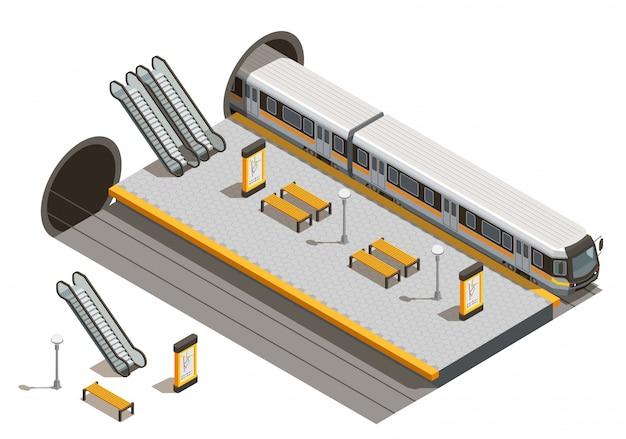 Composición isométrica del transporte público de la ciudad con escaleras mecánicas y bancos de la estación de metro subterráneo con material rodante subterráneo