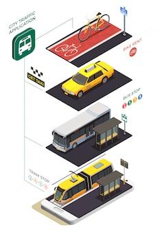 Composición isométrica del transporte público de la ciudad con subtítulos de texto de pictogramas infográficos y unidades de transporte municipal con paradas