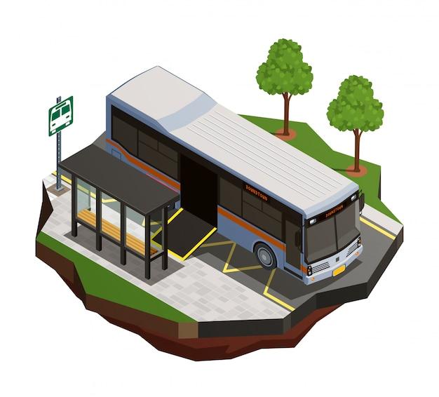 Composición isométrica del transporte público de la ciudad con vista de la parada de autobús y el autobús municipal con ilustración de rampa para sillas de ruedas