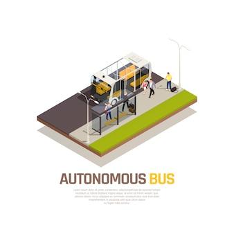 Composición isométrica de transporte robótico de vehículos autónomos sin conductor con ilustración de vector de descripción de autobús autónomo