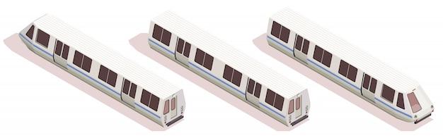 Composición isométrica de transporte con tres trenes de metro aislados sobre fondo blanco 3d