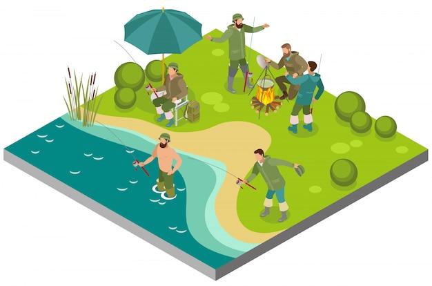 Composición isométrica del turismo pesquero con pescadores cerca de la hoguera y durante la captura en la orilla del río