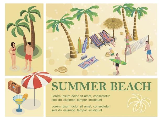 Composición isométrica de vacaciones de verano con cóctel paraguas equipaje palmeras personas descansan en playa tropical