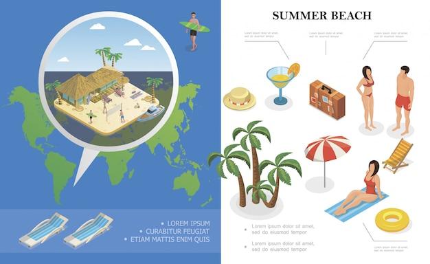 Composición isométrica de vacaciones de verano con sombrero bolsa de cóctel salvavidas sillón reclinable palmeras personas descansan cerca del hotel bungalow en la playa