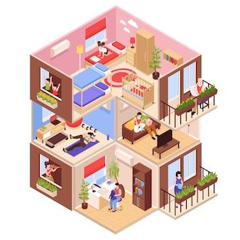 Composición isométrica de vecinos con vista de perfil de bloque de gran altura con apartamentos vecinos en la planta superior y en la planta baja