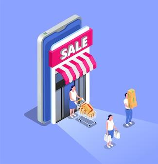 Composición isométrica de venta online con gente saliendo.