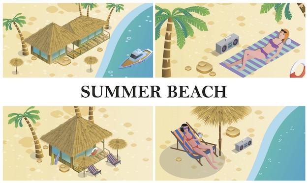 Composición isométrica de verano con mujeres tomando el sol en la playa bungalow hotel grabadora palmeras barco y salvavidas