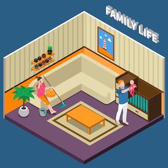 Composición isométrica de la vida familiar