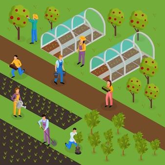 Composición isométrica de la vida de los granjeros ordinarios con caracteres humanos de hombres verdes en uniforme con plantas e invernadero