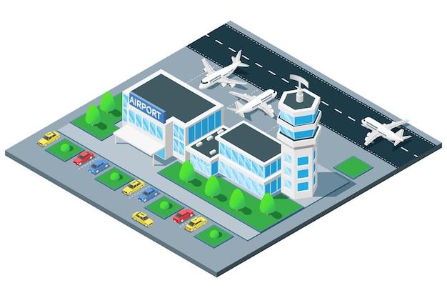 Composición isométrica de vista de pájaro de la terminal del aeropuerto con avión de torre de control de tráfico