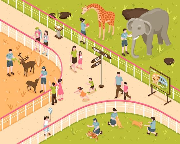 Composición isométrica del zoológico con personajes humanos de niños y adultos con animales salvajes detrás de la cerca del parque