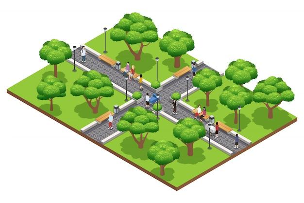 Composición de jardinería isométrica con personas caminando en un parque verde en verano sobre fondo blanco ve