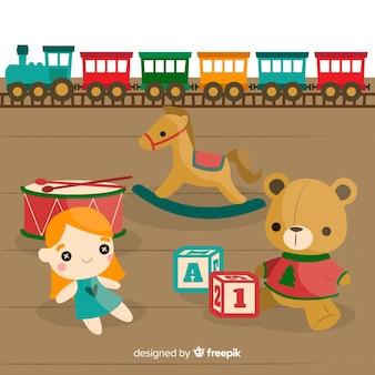 Composición de juguetes adorables con diseño plano