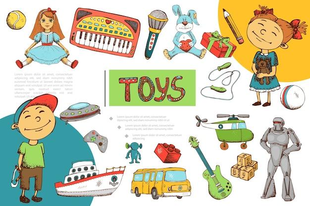 Composición de juguetes infantiles dibujados a mano