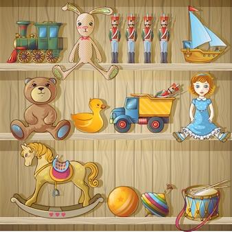 Composición de juguetes para niños en estantes