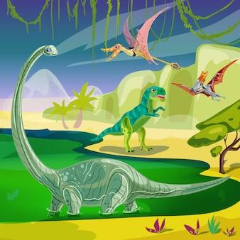 Composición jurásica de animales